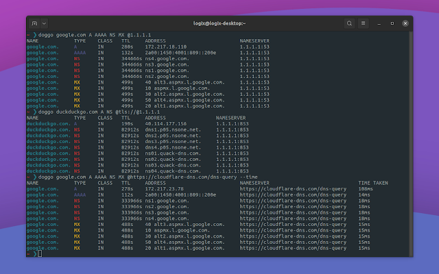 Doggo Is A DNS Lookup Utility With Colorful Output, DNS-over-TLS and DNS-over-HTTPS Support (Command Line) console DNS