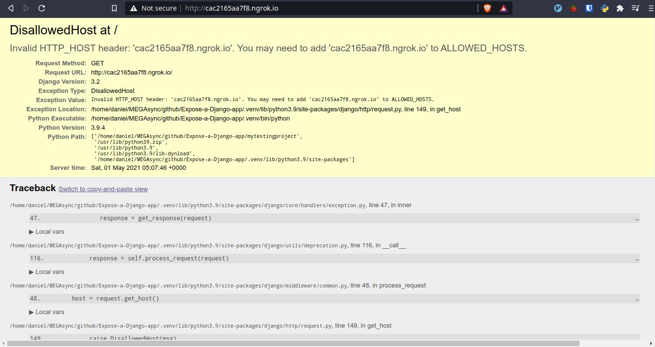 How to Expose a Django Demo App to Internet with Ngrok? Development Python